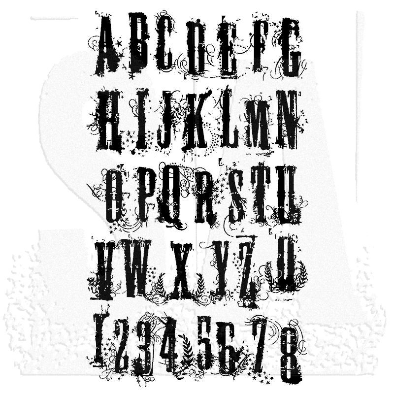 tim holtz cling mount stamps  grunge alphabet cms008