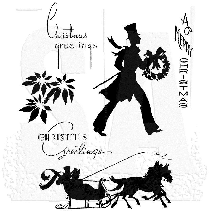 Tim Holtz Cling Mount Stamps - Deco Christmas CMS176