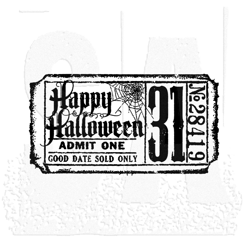 Tim Holtz Wood Mounted Stamp Halloween Ticket G2 1608