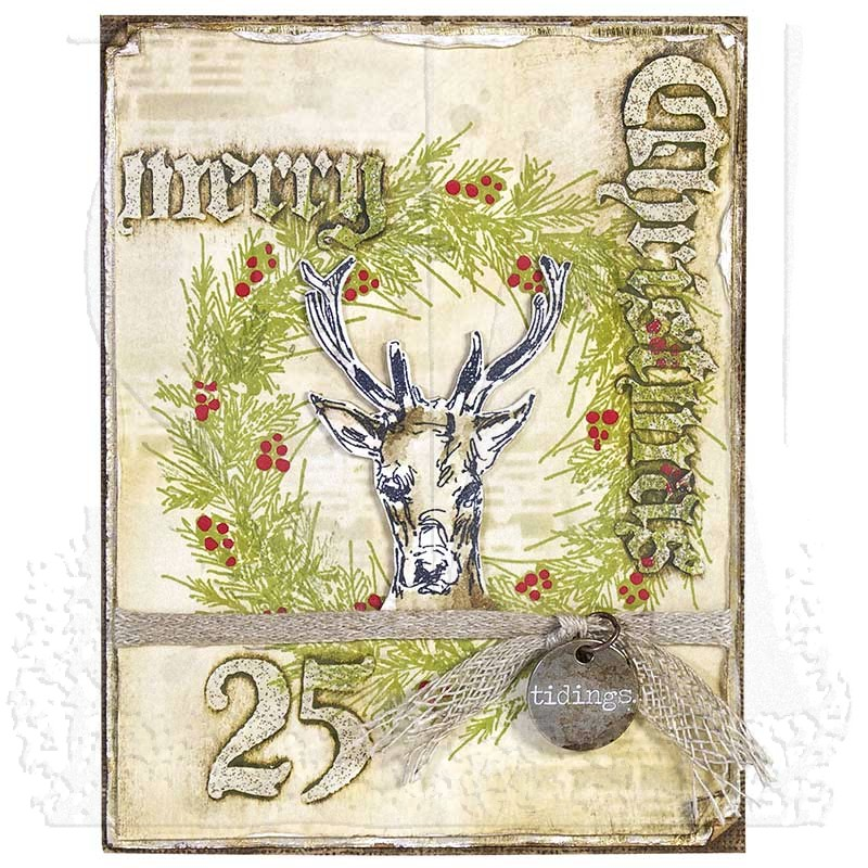 Tim Holtz Cling Mount Stamps Holiday Drawings Cms284