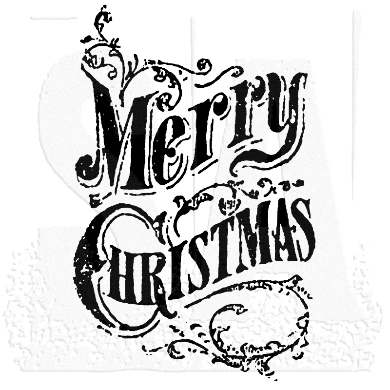 Tim Holtz Wood Mounted Stamp Scroll Merry Christmas