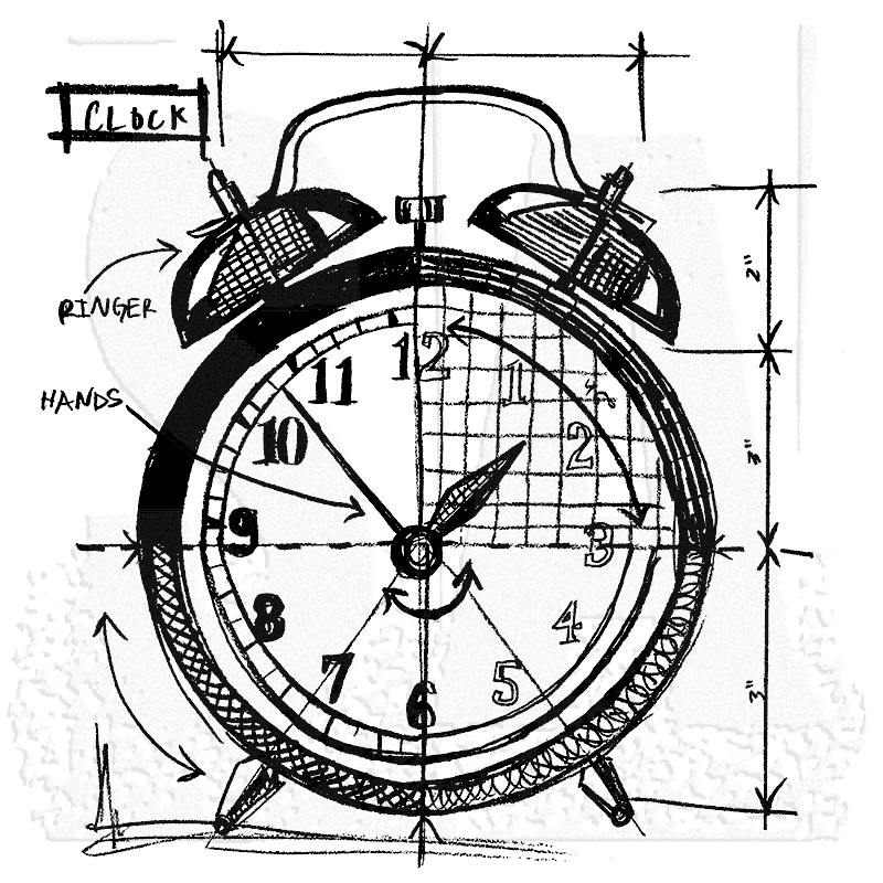 Tim Holtz Wood Mounted Stamp Clock Sketch P1 2089