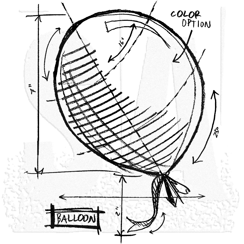 tim holtz wood mounted stamp balloon sketch p1 2093