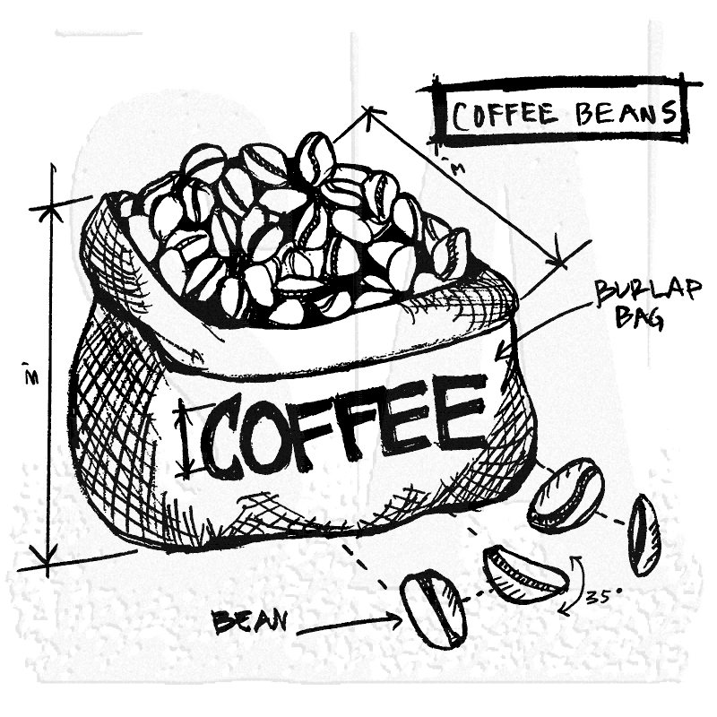 Tim Holtz Wood Mounted Stamp Coffee Beans Sketch P1 2627