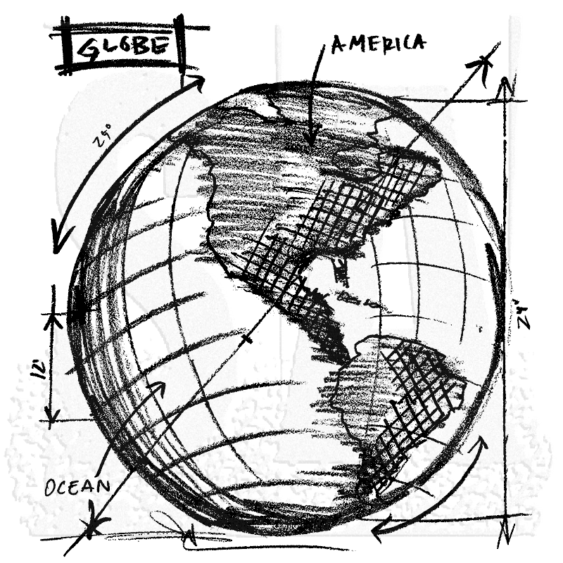 Tim Holtz Wood Mounted Stamp Globe Sketch U2 2080