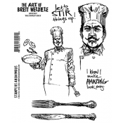 Brett Weldele Cling Mount Stamps - The Burly Chef BWC007