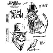 Brett Weldele Cling Mount Stamps - Meow & Tweets BWC008