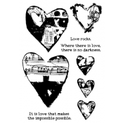 Dina Wakley Media Cling Mount Stamps: Collaged Hearts MDR41306