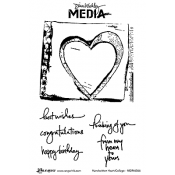Dina Wakley Media Cling Mount Stamps: Handwritten Heart Collage MDR46066