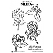 Dina Wakley Media Cling Mount Stamps: Scribbly Flowers MDR46097