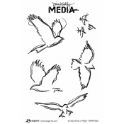 Dina Wakley Media Cling Mount Stamps: Scribbly Birds in Flight MDR47636