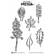 Dina Wakley Media Cling Mount Stamps: Scribbly Leaves and Pods MDR47650