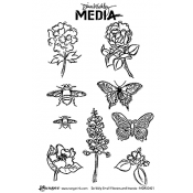 Dina Wakley Media Cling Mount Stamps: Scribbly Small Flowers and Insects MDR50421