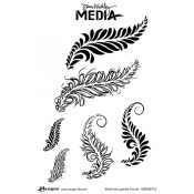 Dina Wakley Cling Mount Stamps: Sketched Layered Fronds MDR55716