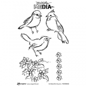 Dina Wakley Media Cling Mount Stamps: Scribbly Bird Cousins MDR58403