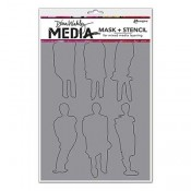 Dina Wakley Media Stencil: Funky Silhouettes MDS60604