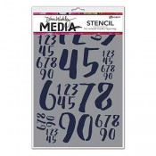 Dina Wakley Media Stencil: Jumbled Numbers MDS54443