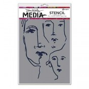 Dina Wakley Media Stencil: Scribbled Faces MDS54450