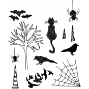 Dylusions Cling Mount Stamps - Bits and Bats DYR34414