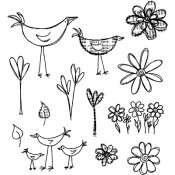 Dylusions Cling Mount Stamps - How Does Your Garden Grow DYR34445