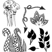Dylusions Cling Mount Stamps - Doodle Parts DYR34582