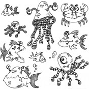 Dylusions Cling Mount Stamps - Under the Sea DYR37781