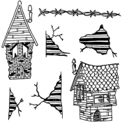 Dylusions Cling Mount Stamps - This Old House DYR38306