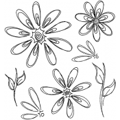 Dylusions Cling Mount Stamps - Fancy Florals DYR40941