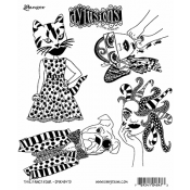 Dylusions Cling Mount Stamps - The Fancy Four DYR48473