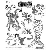 Dylusions Cling Mount Stamps - Plenty of Fish in the Sea DYR59516