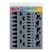 Dylusions Large Stencil: Heart Border - DYS47162