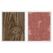 Sizzix Texture Fades Embossing Folders: Bricked & Woodgrain Set 656644