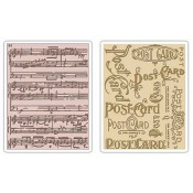 Sizzix Texture Fades Embossing Folder: Postcard & Sheet Music Set 656946