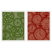 Sizzix Texture Fades Embossing Folders: Pocket Watches & Steampunk Set 657195