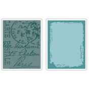 Sizzix Embossing Folders - Distressed Frame & Postal Set 657196