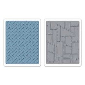 Sizzix Texture Fades Embossing Folders: Diamond Plate & Riveted Metal Set 657848