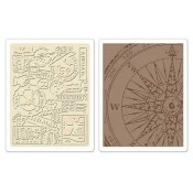 Sizzix Embossing Folders - Airmail & Compass 658574