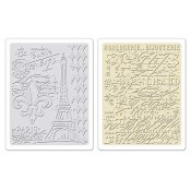 Sizzix Embossing Folders - Eiffel Tower & French Script Set 658577