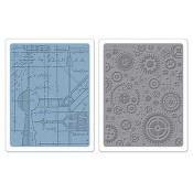Sizzix Embossing Folders - Blueprint & Gears Set 658580