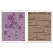 Sizzix Embossing Folders - Ink Splats & Wood Planks Set 658726