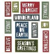 Sizzix Thinlits Die Set - Block Holiday Words 660057