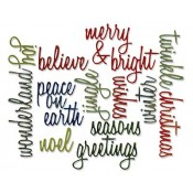 Sizzix Thinlits Die Set - Script Holiday Words 660058