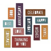 Sizzix Thinlits Die Set: Celebration Words, Block 660211