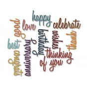 Sizzix Thinlits Die Set - Celebration Words: Script 660223