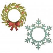 Sizzix Thinlits Die Set: Wreath & Snowflake 664210