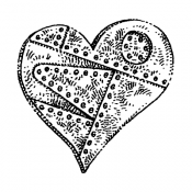 Stampers Anonymous Wood Mounted Stamp - Riveted Heart H2-1110