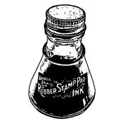 Wendy Vecchi Wood Mounted Stamp - Bottle of Ink J2-1867