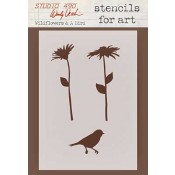 Wendy Vecchi Stencils for Art - Wildflowers & A Bird WVSFA011