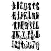 Tim Holtz Cling Mount Stamps - Grunge Alphabet CMS008