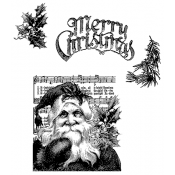 Tim Holtz Cling Mount Stamps - Santa's Wish CMS032